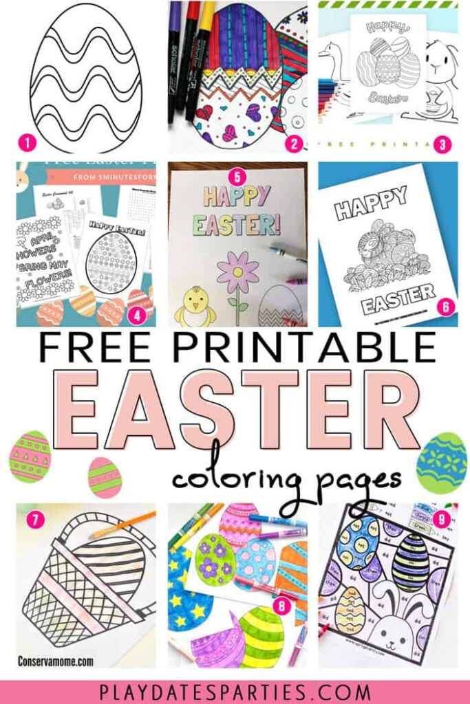 A collage of 9 Easter coloring pages with the text Free printable Easter coloring pages