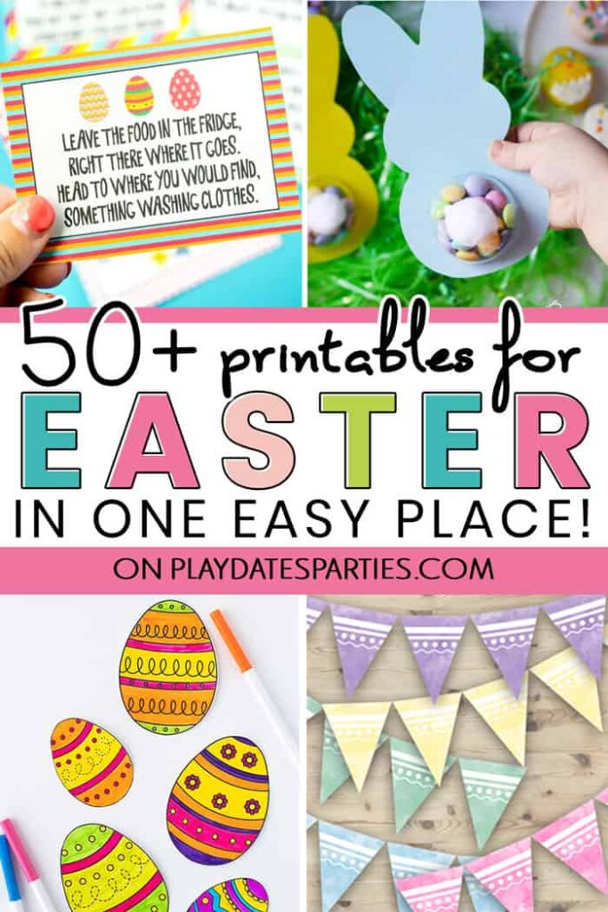 A collage of Easter projects with the title 50+ Easter printables in one place