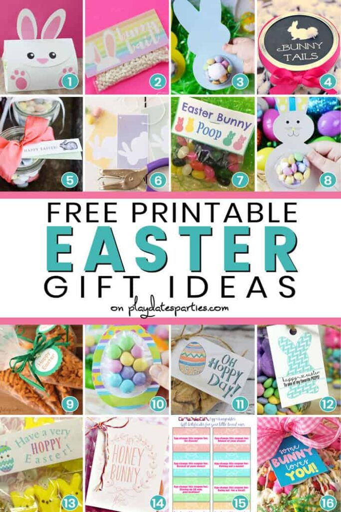 A collage of 16 images with the text free printable Easter gift ideas