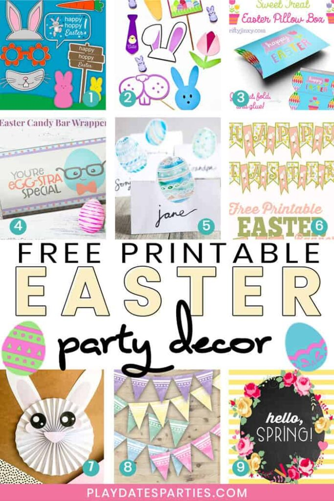 A collage of Easter party printables, with the text free printable Easter party decor