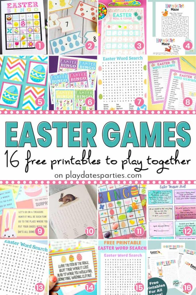 A collage of 16 images with the text Easter Games. 16 free printables to play together