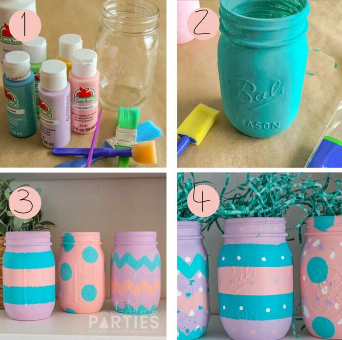 Primary steps for painting mason jars: supplies, first coat, adding the main design, and then finished jars with added touches