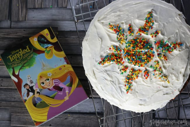 Brownie Chocolate Chip Cookie Cake with a Tangled Sunburst