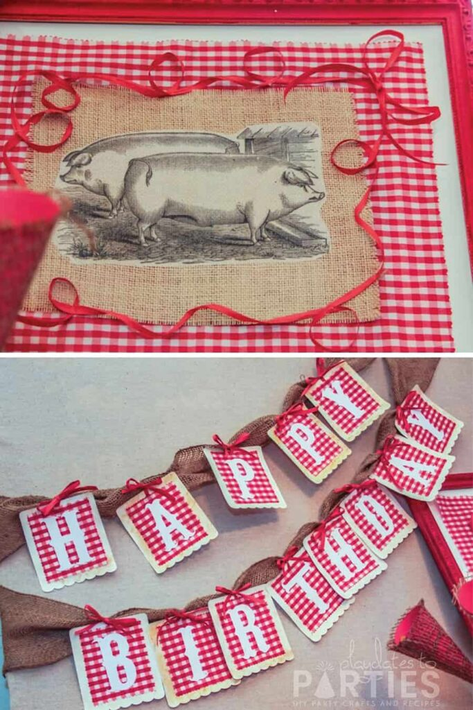 close up of a picture of pigs on burlap and a red gingham happy birthday banner