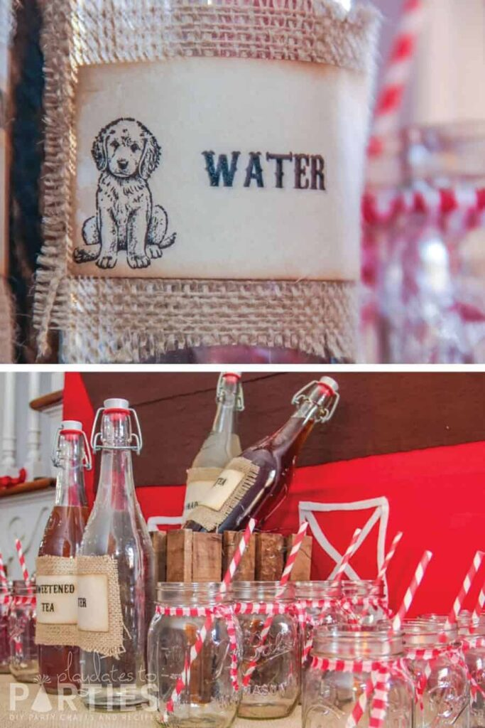 rustic water bottle label with burlap and a drink buffet with mason jars