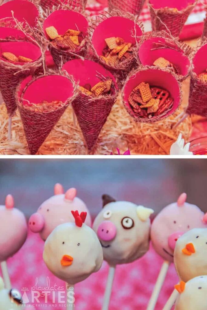 farm animal cake pops and party cones filled with snack mix