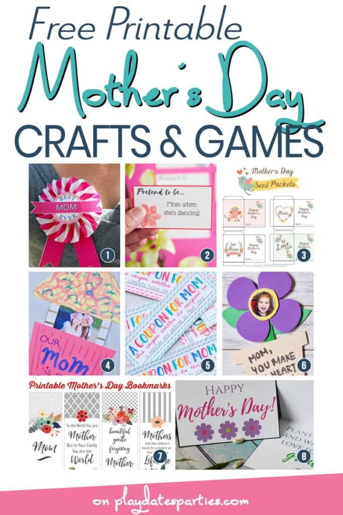 A collage of 8 crafts, games, and projects kids can make for Mother's Day