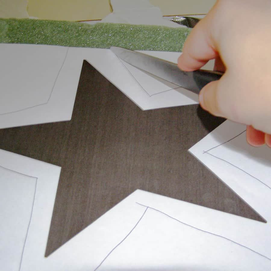 tracing the star template with a knife