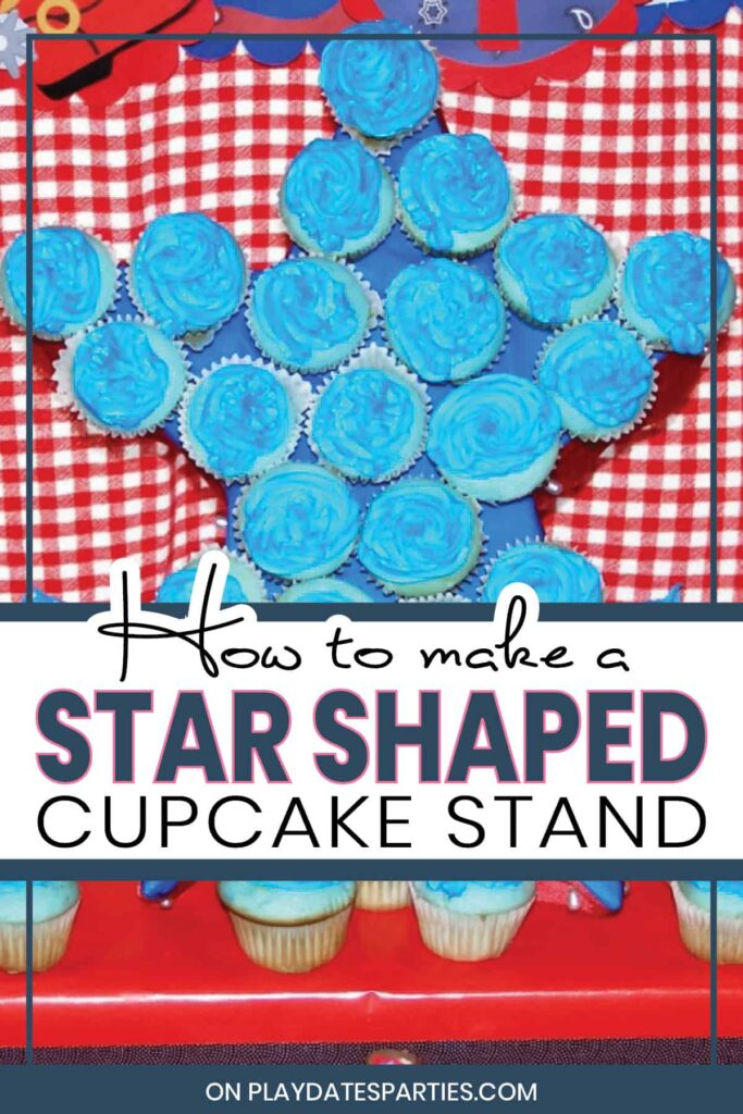 star shaped cupcake stand in front of a red gingham backdrop
