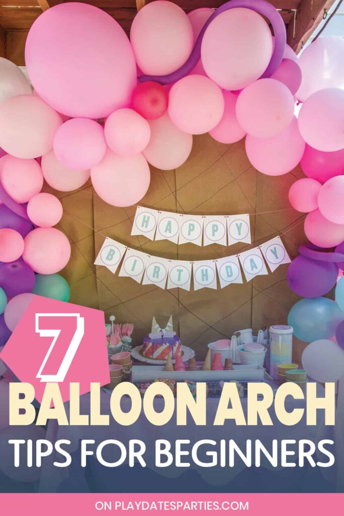 Balloons arched over a party table 7 DIY balloon arch tips for beginners
