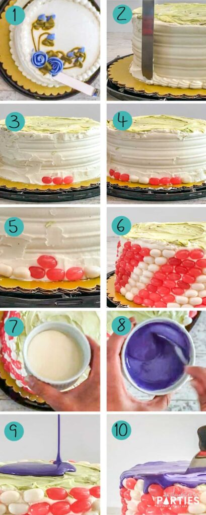 step by step process for how to cover a cake with stripes made out of candy