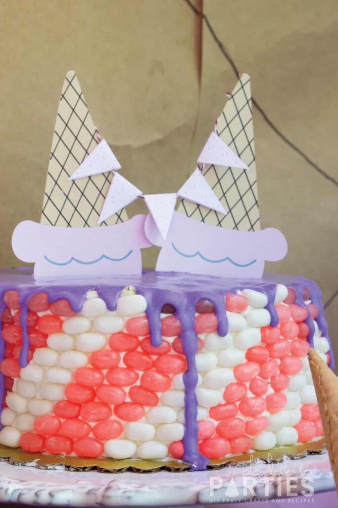 birthday cake covered in candy stripes