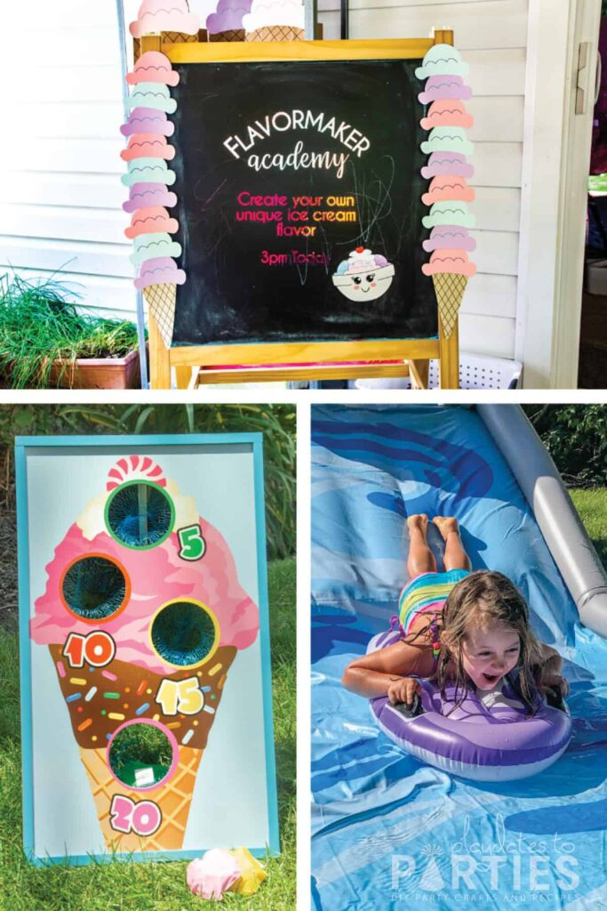 party activities, inncluding a water slide, make your own ice cream, and bean bag toss