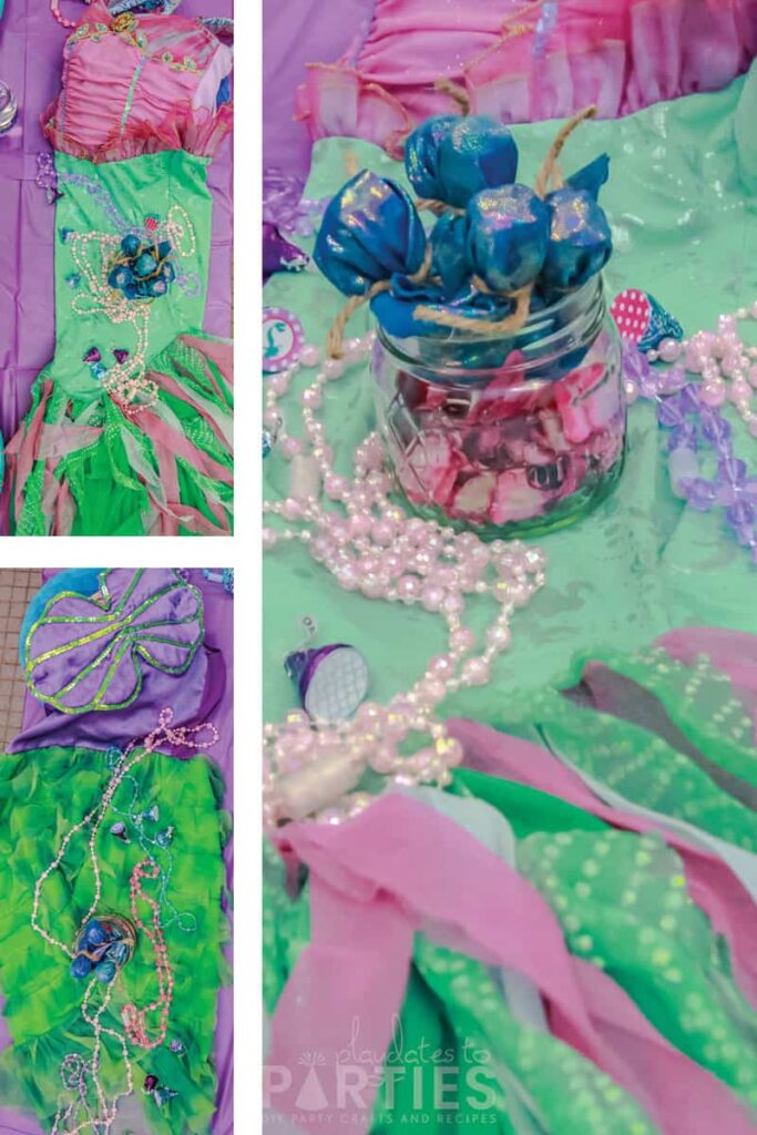 mermaid dress up costumes and play jewelry used as party decorations
