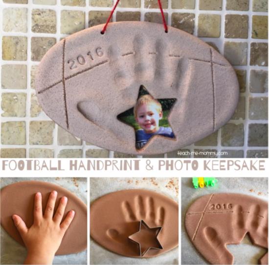 Football Handprint & Photo Keepsake