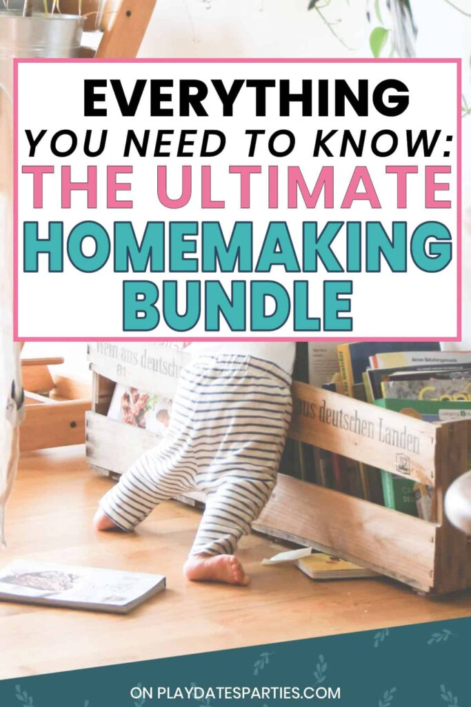 a baby playing with books with the text everything you need to know the ultimate homemaking bundle
