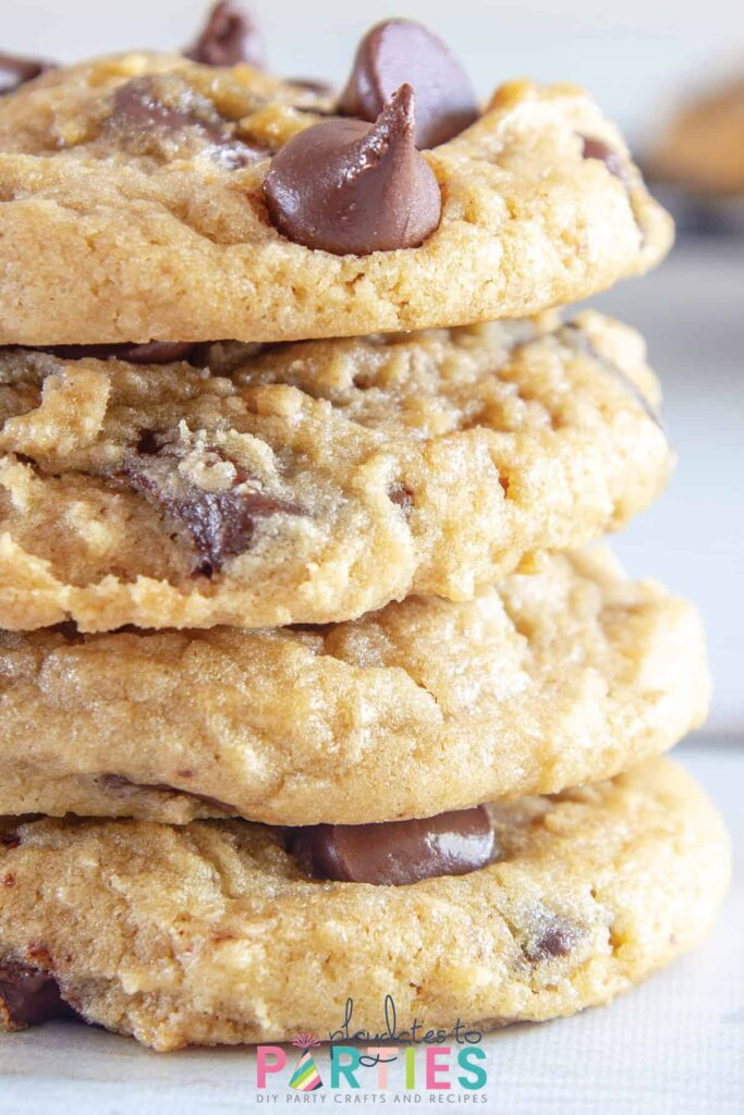 close up of a stack of chocolate chip cookies