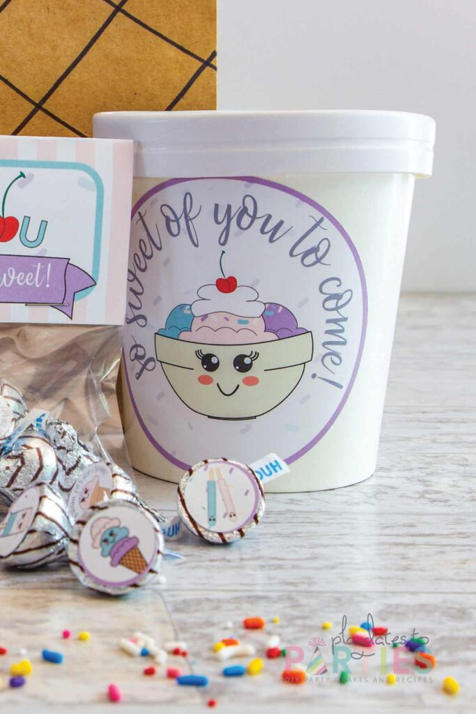 ice cream container with a party circle that says so sweet of you to come!