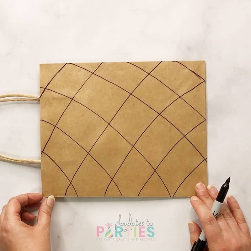 Finished drawing waffle cone effect on paper bag