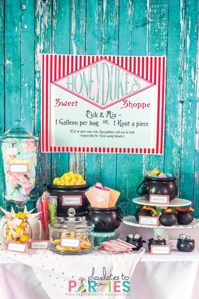 Honeydukes sweet shoppe buffet with a custom sign, and candies in plastic cauldrons and glass jars