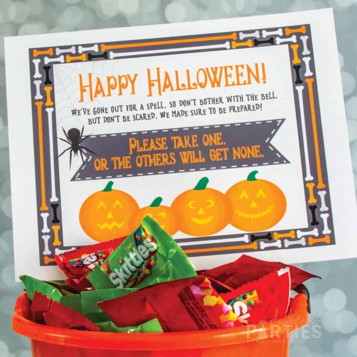 Printable Halloween take one candy sign with poem