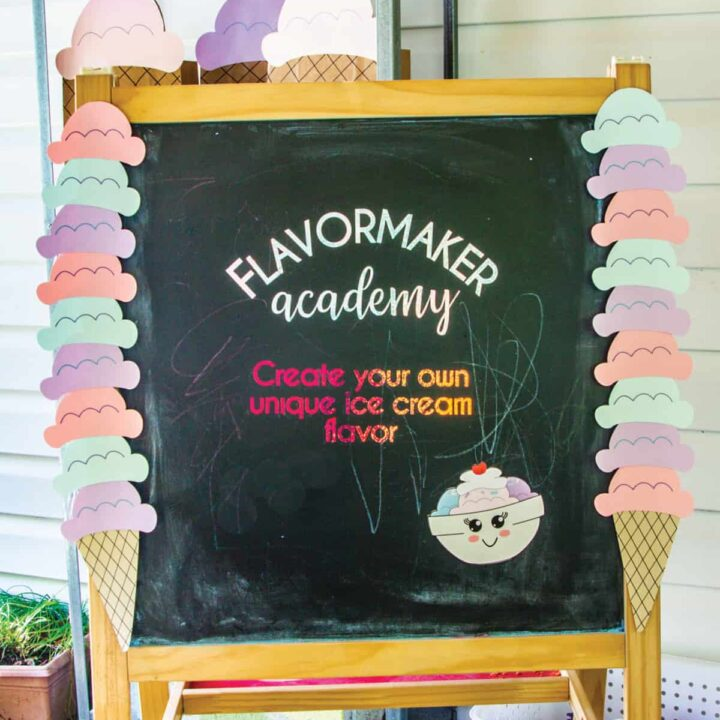 chalkboard sign decorated for an ice cream party