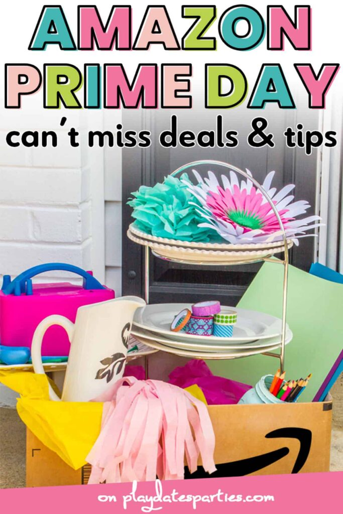 Amazon prime box on a front porch with party supplies inside and the text Amazon Prime Day can't miss deals & tips