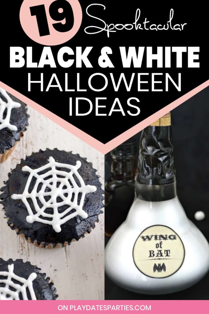 black and white halloween cupcakes and potion bottles with the text 19 spooktacular black and white halloween ideas