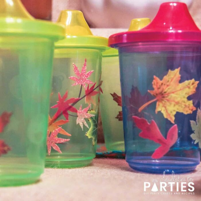 glitter leaf stickers on sippy cups for toddlers