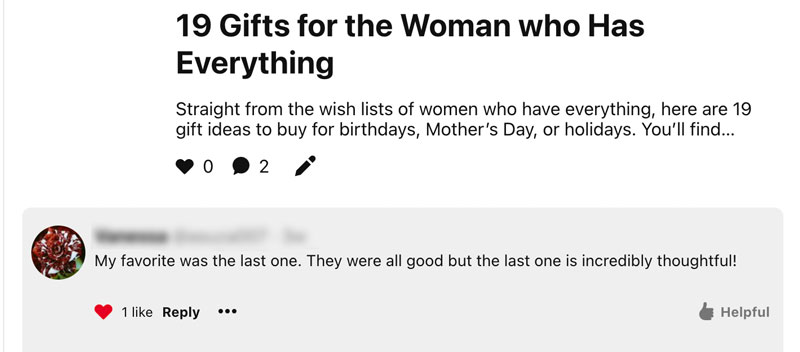 Reader review of gifts for women post.