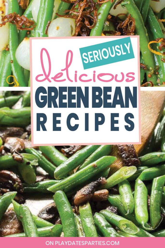 close up of two green bean recipes, one with mushrooms and one with citrus curls
