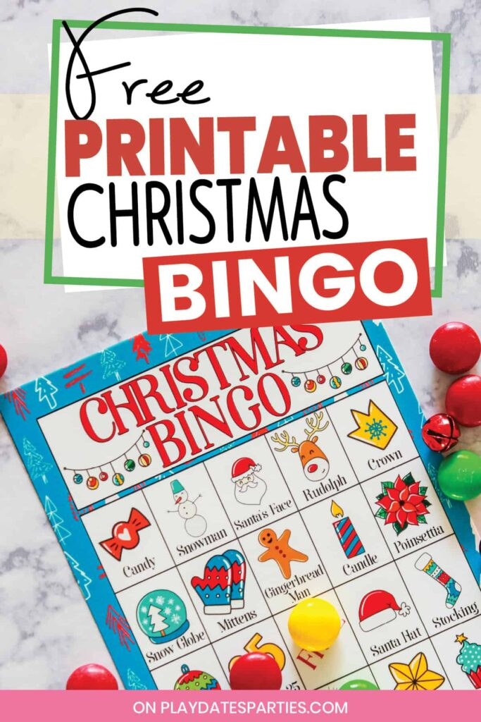 Christmas bingo card on a marble counter with candy and mini jingle bell markers. text reads Free Printable Christmas Bingo