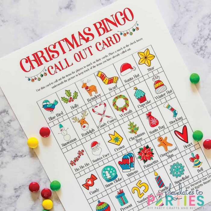 Call out card for Christmas Bingo with  spots to mark off when each item is used.