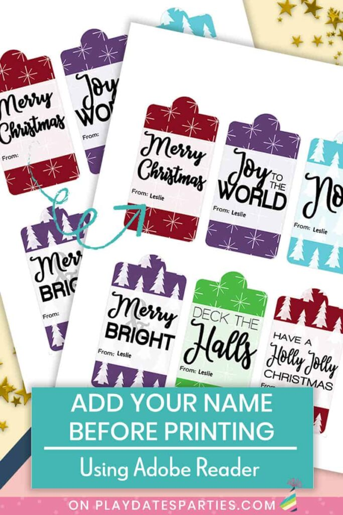 sample of two pages of printable gift tags showing what it looks like with names printed on the tags