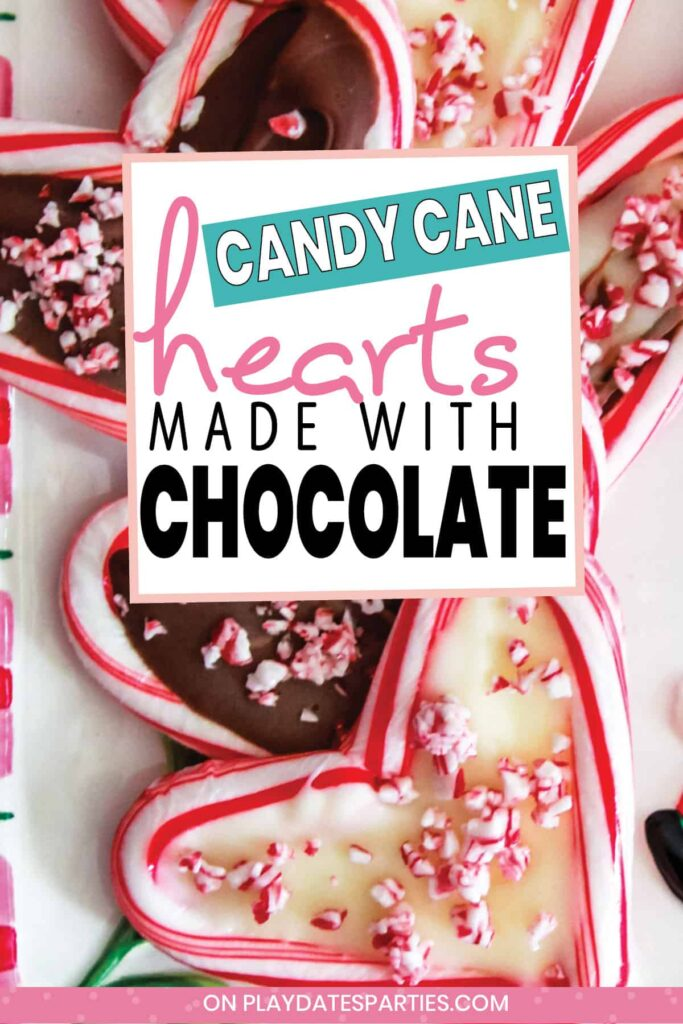a plate of hearts made out of candy canes and filled with chocolate
