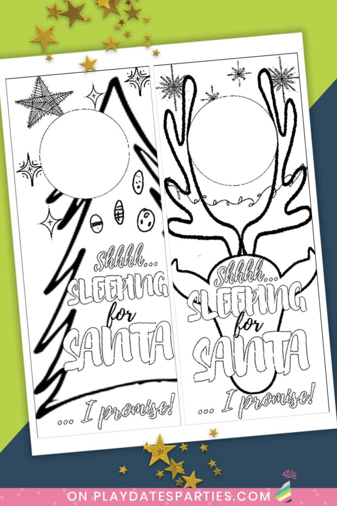 image of a page with two coloring page door knob hangers for Christmas one with a tree and one with a reindeer