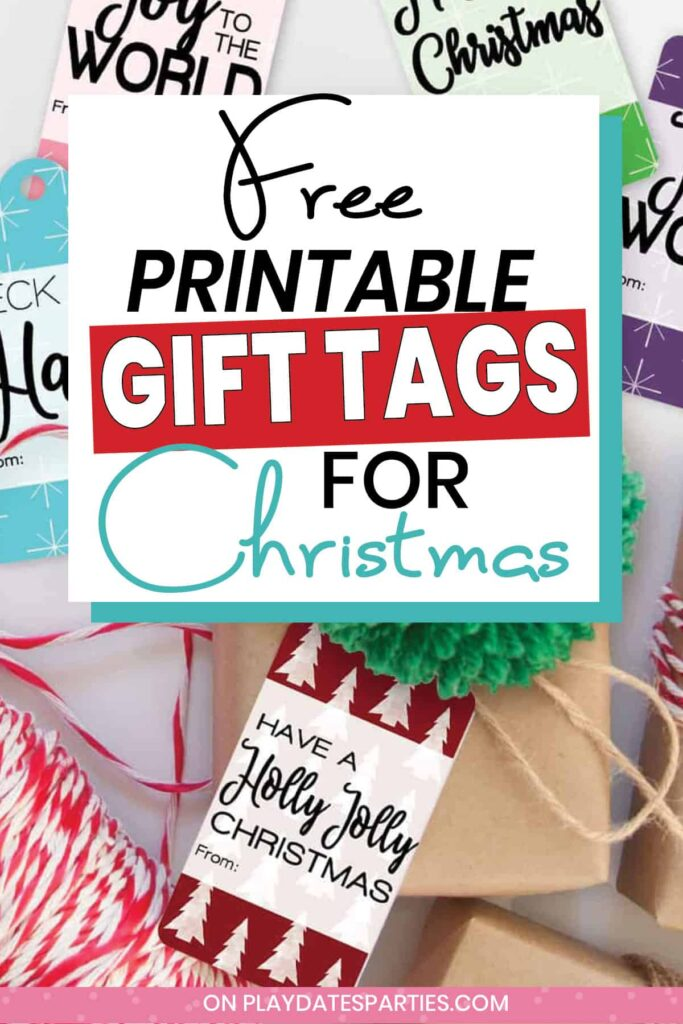 colorful gift tags on a white table with red twine and a brown wrapped present with text free printable gift tags for Christmas