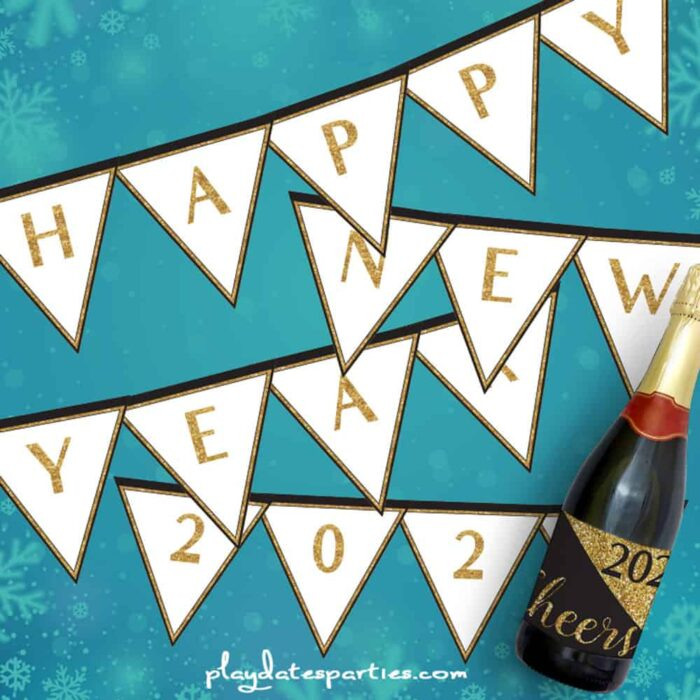 Happy New Year banner with gold glitter letters against a blue background