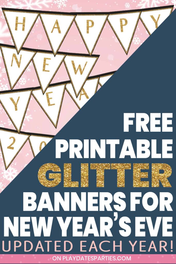partially covered sample of gold glitter banner letters that say happy new year with text free printable glitter banners for New Years Eve