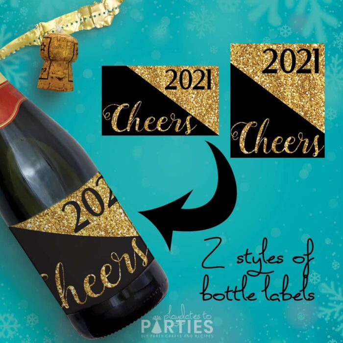 Gold Glitter and black wine bottle label that says Cheers 2020 with text overlay 2 styles of bottle labels