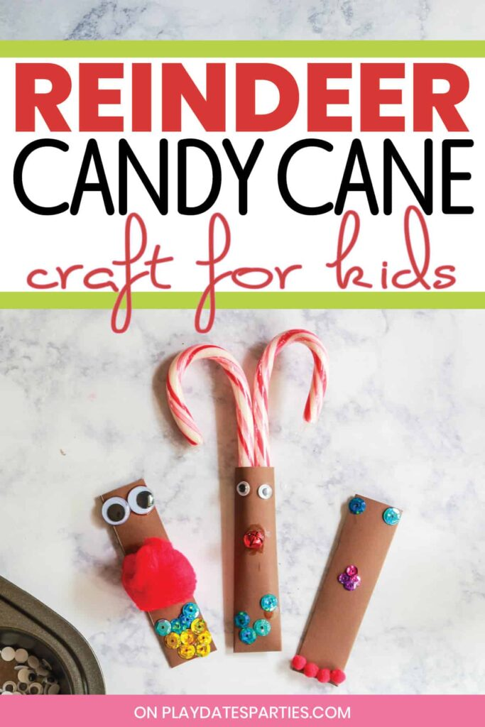 3 homemade candy cane pockets decorated by kids to look like reindeer on a marble counter