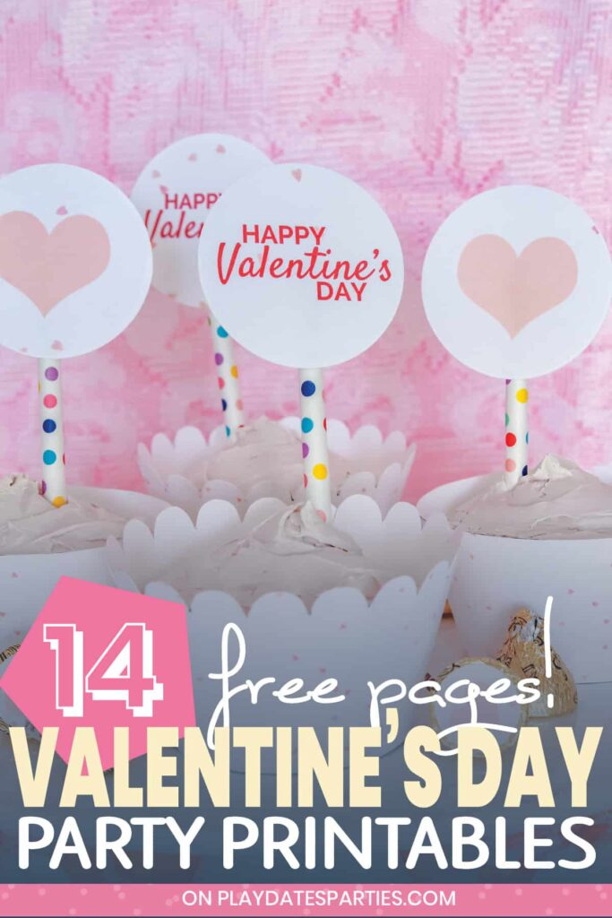 cupcakes in front of a pink lace backdrop with printable party circles that have hearts and say happy Valentine's Day