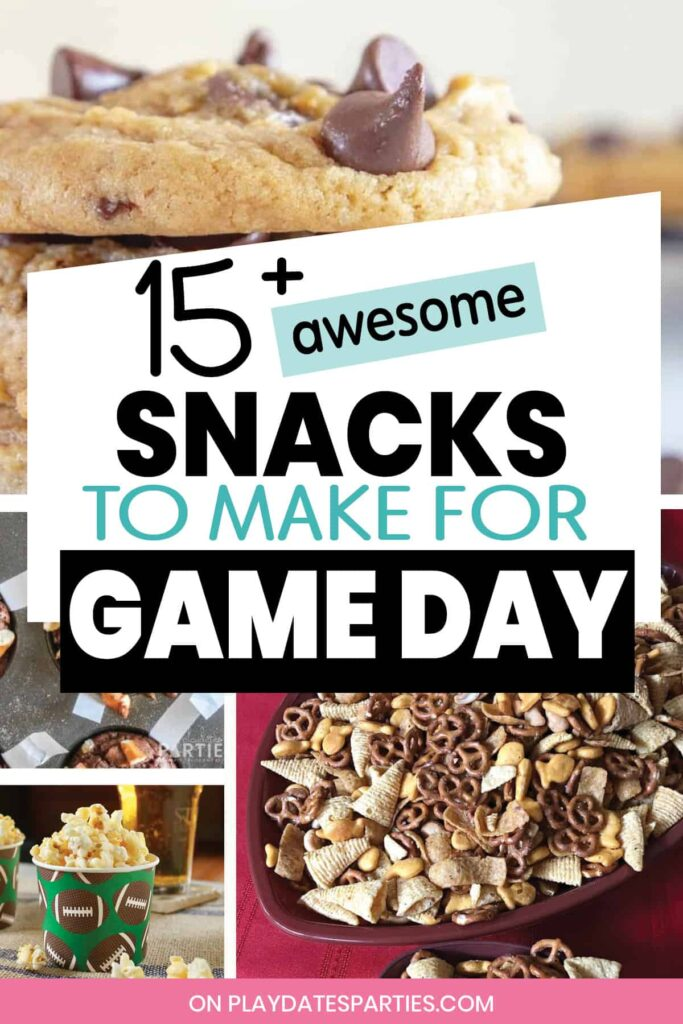 collage of football desserts with text 15+ awesome snacks to make for game day