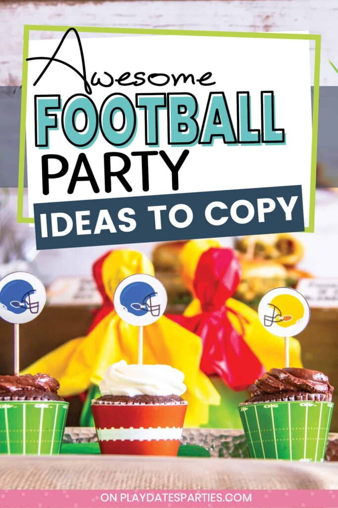 close up of cupcakes on a party buffet with wrappers that look like footballs and football fields.