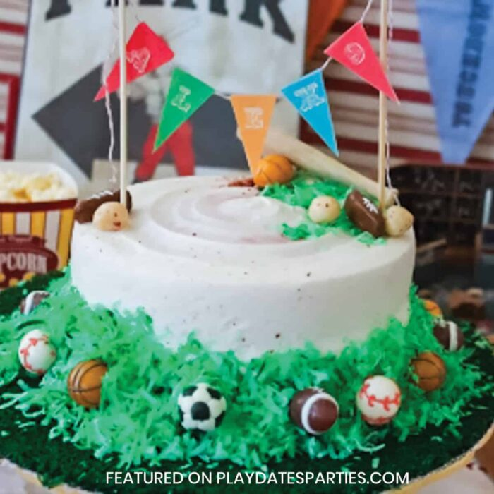 close up of a birthday cake with white frosting, green coconut to look like grass and miniature footballs, baseballs, and soccer balls