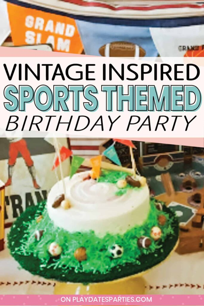 birthday cake decorated with a sports motif on a dessert table