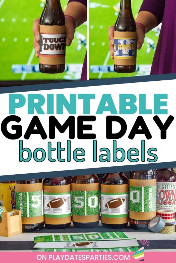 collage of beer bottles with super bowl printables in a variety of designs