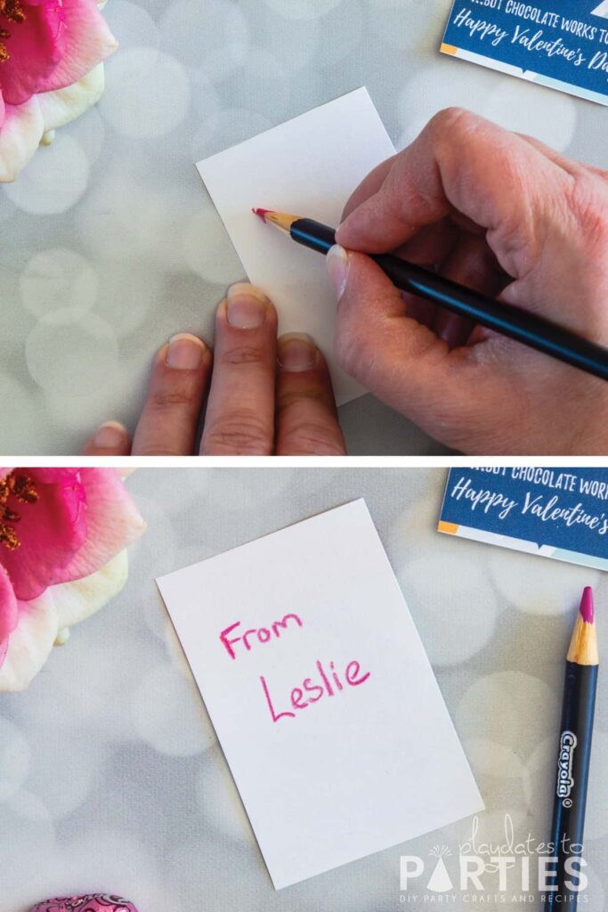 collage of 2 photos showing a handwritten message on the back of the card