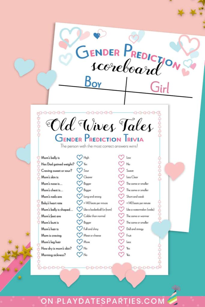 Old wives tale trivia and gender prediction scoreboard games on a teal and pink background