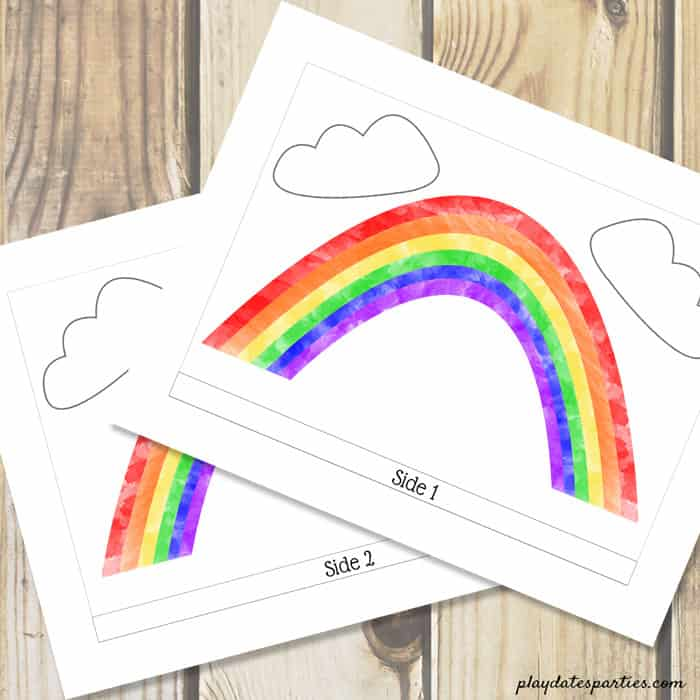 A picture showing the downloadable rainbow pattern with two sides.